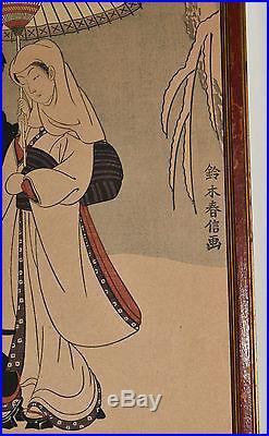Antique Vtg Japanese Original Signed Art Geisha Bijin-ga Wood Block Print