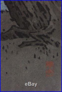 Arai Yoshimune Pine Beach Japanese Woodblock Print Hasegawa Night Scenes