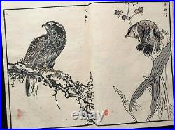 BAIREI Flowers birds Woodcut album JPN Woodblock print Book HYAKUCHO GAFU #6