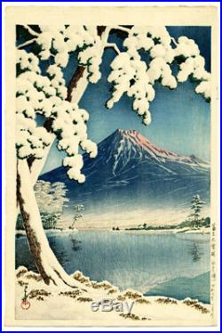 Beautiful 1932 Kawase Hasui Mt Fuji Snow Scene Original Japanese Woodblock Print