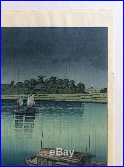 Beautiful Antique Japanese Wood Block Print 1937 by Artist HASUI KAWASE arakawa