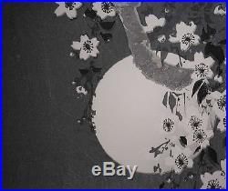 Beautiful Hiroshige Japanese Woodblock Woman under Moon with Lantern NICE & RARE