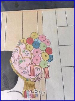 Beautiful Japanese PAUL JACOULET Woodblock Print LA MARIEE Seoul, Coree