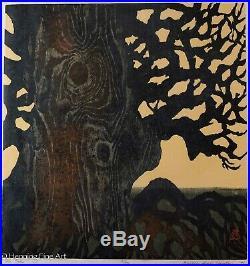 Beautiful Large Vintage Japanese Woodblock Signed Michiko Iwaki Christian NICE