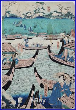 Boats on River Meiji Period Rare Genuine Japanese Ukiyo-e Oban Woodblock Print