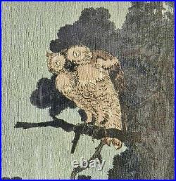 C. 1930 Yoshimoto Gesso Owl in the Evening Shin-Hanga Japanese Woodblock Print