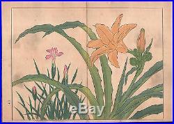 Ca 1890 Ukiyo-e Art Western Flowers Tanigami Konan Woodblock Prints Plants Flora