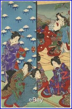 Chikanobu, Original Japanese Woodblock Print, December, Beauty, Wife, Kabuki