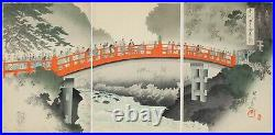 Chikanobu, Sacred Bridge, Nikko Shrine, Art, Original Japanese Woodblock Print