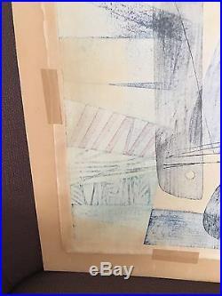 Chizuko Yoshida Windows Japanese Wood Block Print 1954