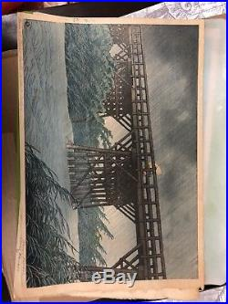 Collection of Japanese Original Woodblock Prints 3 Hasui And 2 Yoshida Bundle