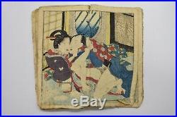 EDO ERA ORIGINAL Japanese Art Woodblock Print UKIYOE Shunga Book 12 Pictures