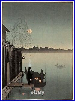 EIJIRO Evening Cool on Sumida antique Japanese woodblock print