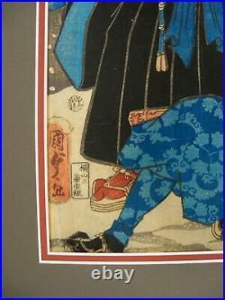 Edo Period Japanese Woodblock Print by Utagawa Kunisada Diptych Battle Scene