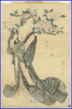 Eizan, Original Japanese Woodblock Print, Beauty, Peonies, Kimono Design, Edo