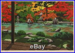 En0792jlcFk10 Japanese framed woodblock print Ido Masao Autumn Garden 68/200
