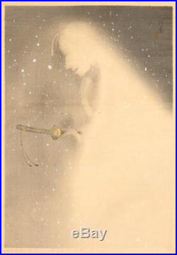 En0857jtcSk1 Japanese woodblock print Uemura Shoen Snow Woman 1922