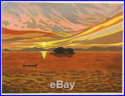 En0925cfbCu4Japanese woodblock print Ido Masao Sunset glow 219/250 1997