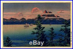 FIRST STATE! 1927 Kawase Hasui Mt. Unzen Hizen Original Japanese Woodblock Print