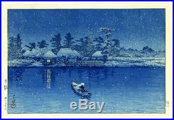 FIRST STATE! 1931 Kawase Hasui Ushibori Snow Original Japanese Woodblock Print