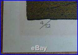 FUKITA FUMIAKI, Japanese Woodblock Print, Gold Leaf, Signed, Edition 4/52,1972