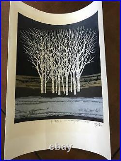 FUMIO FUJITA Japanese woodblock Forest pencil signed dated 1975 ltd ed 73/200