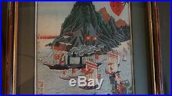 Fine Original Japanese Woodblock Print by Yoshitoshi Maisaka Framed
