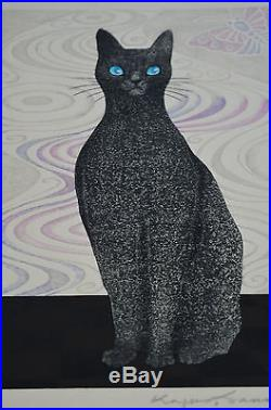 First Limited Edition Japanese Woodblock Print Of A Cat By Kazuhiko Sanmonji