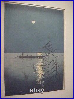 Framed Circa 1930's Japanese Woodblock Print Shoda Koho Night Scene #401