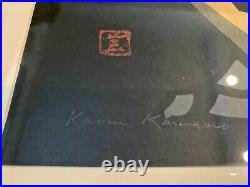 Framed Matted Signed Kaoru Kawano Modernist Japanese Woodblock Owl Print