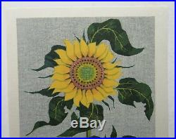 Fumio Fujita 1972 Modern Japanese Woodblock of Sunflower Listed Japanese