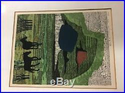 Fumio Fujita Japanese Woodblock Print Two Horses 1969 79/200