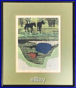 Fumio Fujita Signed Woodblock Print Field and Horses 1969 Japanese Mid Century