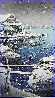 GENUINE JAPANESE WOODBLOCK PRINT By KAWASE HASUI SNOW AT MUKOJIMA