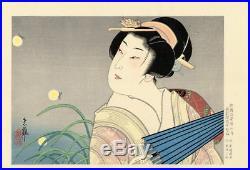 Genuine Antique Japanese woodblock print- Geisha with parasol, Tadamasa