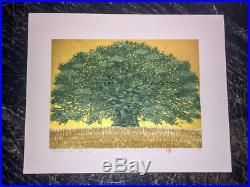 HAJIME NAMIKI GreenTree on GoldFoil (TreeScene76) Japanese Woodblock Print