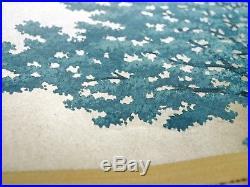 HAJIME NAMIKI JAPANESE Woodblock Print Blue Tree Hand SIGNED by Pencil