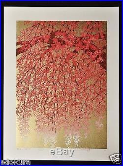 HAJIME NAMIKI Orig JAPANESE Large Woodblock Print Weeping Cherry on Gold