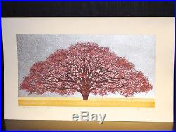 HAJIME NAMIKI Red Tree on Silver Japanese Woodblock Print