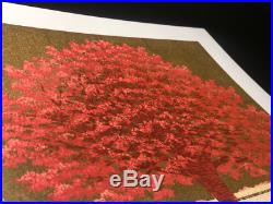 HAJIME NAMIKI Tree Scene 140 Red Wood on Gold Japanese Woodblock Print