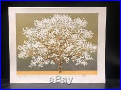 HAJIME NAMIKI WhiteTree on Gold Foil Japanese Woodblock Print