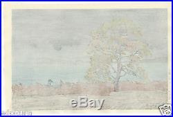 HASUI JAPANESE Hand Printed Woodblock Print Lake Shore of Matsue in Rain