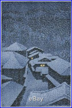HASUI JAPANESE Hand Printed Woodblock Print Shiobara in Snowstorm