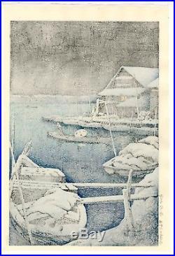 HASUI JAPANESE Hand Printed Woodblock Print Snow at Mukojima