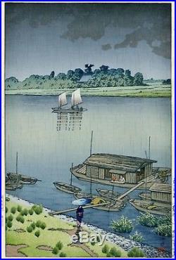 HASUI JAPANESE Woodblock Print SHIN HANGA Early Summer Rain Arakawa SAMIDARE