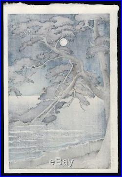 HASUI JAPANESE Woodblock Print SHIN HANGA Moon at Enoshima