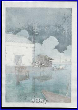 HASUI JAPANESE Woodblock Print SHIN HANGA Rain at USHIBORI
