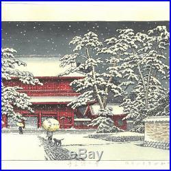 HASUI JAPANESE Woodblock Print SHIN HANGA Zojoji Temple in Snow Japan F/S