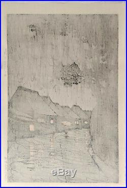 HASUI KAWASE Japanese Woodblock Print Rain at Maekawa
