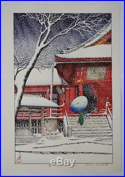 HASUI KAWASE Japanese woodblock print ORIGINAL Shin-hanga Ueno Kiyomizudo Yuki